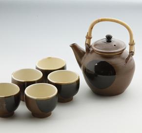 丸紋土瓶・番茶碗